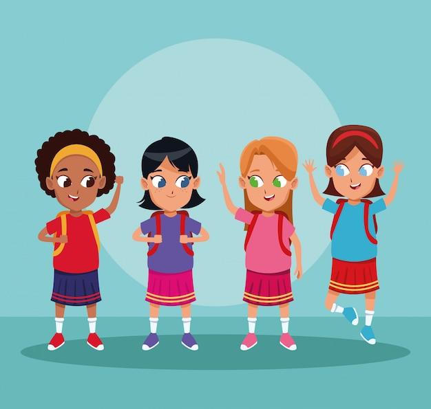 Cartoni animati per ragazzi e ragazze scaricare vettori gratis