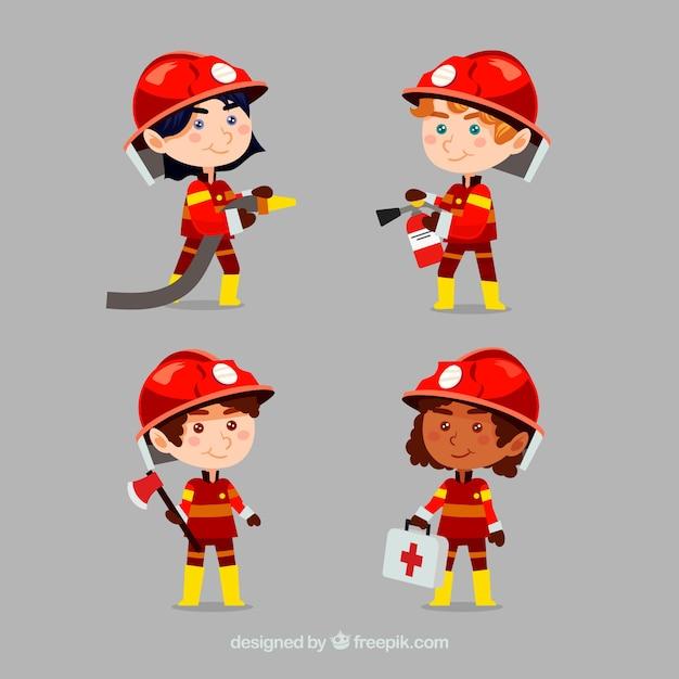 Pompieri in caserma dei pompieri vettore cartone animato