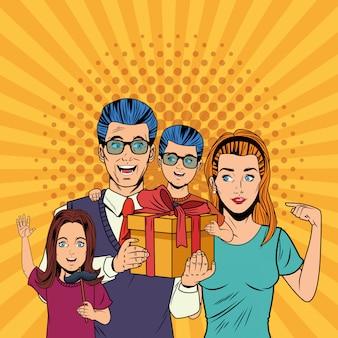 Cartoni animati pop art di giorno di padri