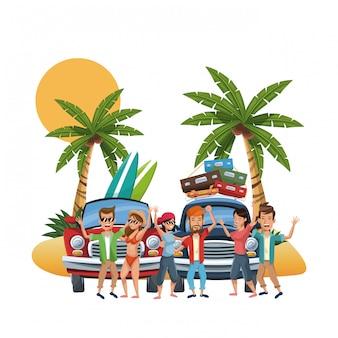 Cartoni animati spiaggia e amici