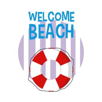 Cartoni animati sulla spiaggia di benvenuto