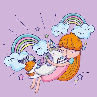Cartoni carini di ragazza e unicorno