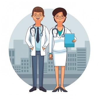 Cartoni del team di medici
