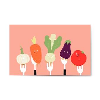 Cartoni di verdure fresche sul vettore di forcelle
