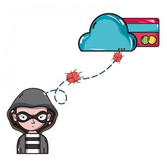 Cartoni per la minaccia della cibersicurezza