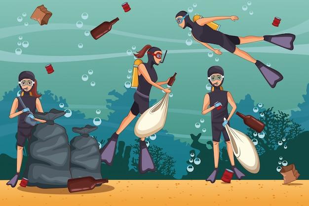 Cartoni per la pulizia del mare