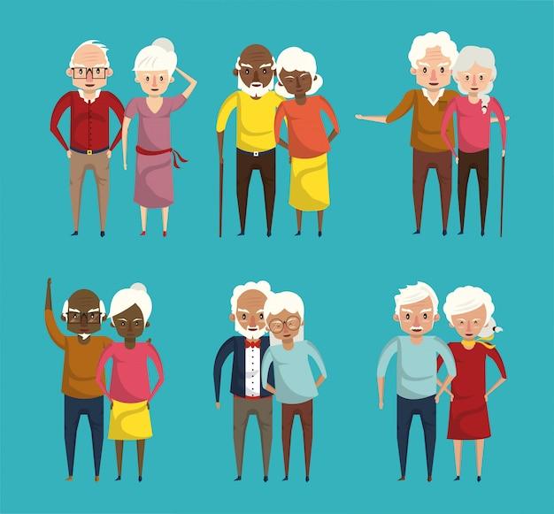 Cartoni sorridenti delle coppie sveglie dei nonni