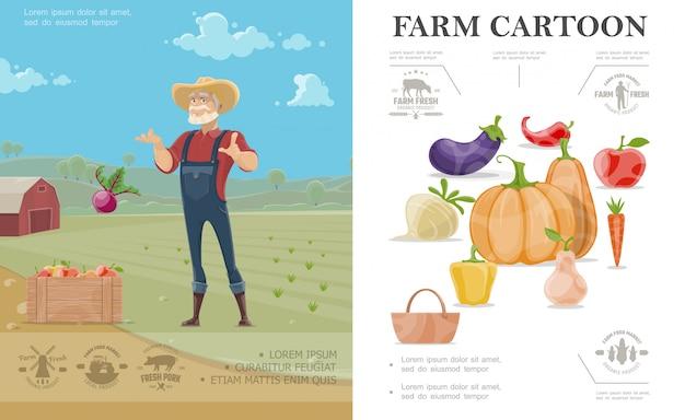 Cartoon agricoltura concetto colorato con melanzane ravanello zucca mela carota pepe pera e contadino sul paesaggio dell'azienda agricola