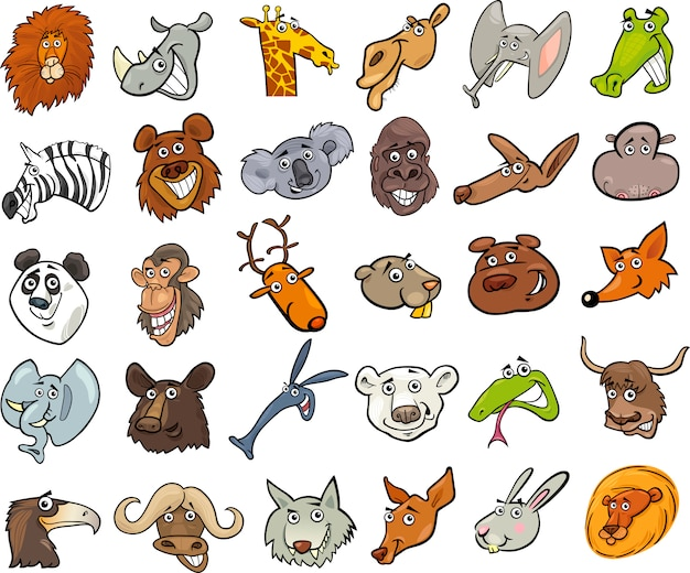 Cartoon animali selvatici teste enorme set