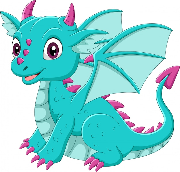 Cartoon baby blue dragon seduto