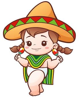 Cartoon baby girl indossa il messicano
