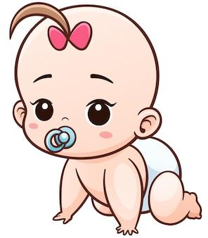 Cartoon baby impara a gattonare
