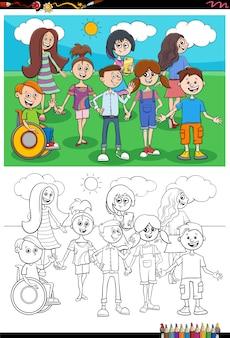 Cartoon bambini caratteri gruppo pagina del libro da colorare