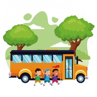 Cartoon bambini e scuolabus