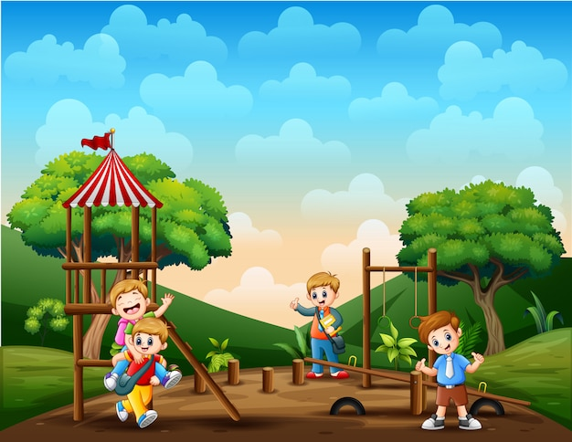 Cartoon bambini nel parco giochi