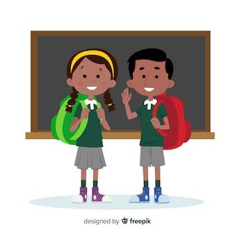 Cartoon bambini torna a scuola sfondo