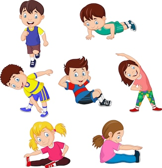 Cartoon bambini yoga con diverse pose yoga