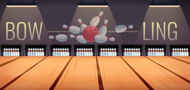 Cartoon bowling room, illustrazione vettoriale