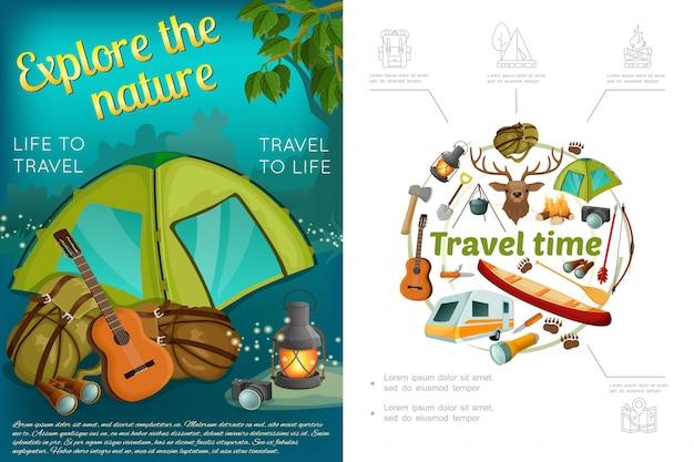 Cartoon campeggio colorato composizione con tenda chitarra zaino torcia lanterna telecamera ascia pala canoa testa di cervo arco freccia rimorchio camper