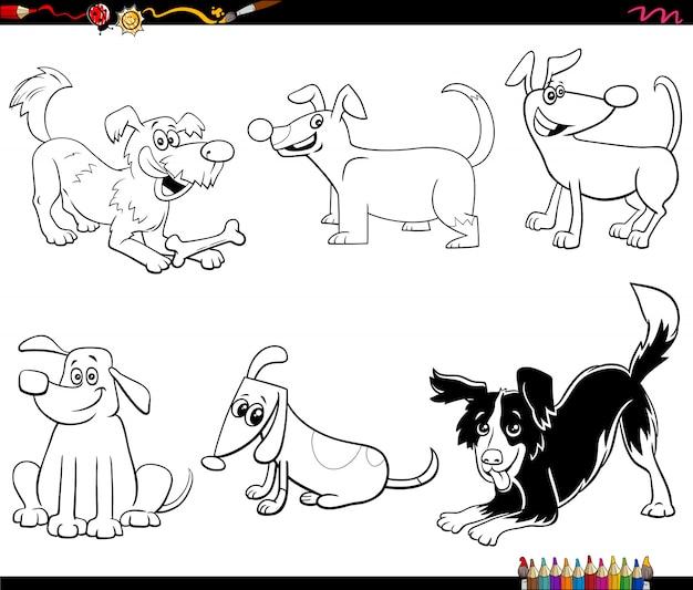 Cartoon cani e cuccioli impostare pagina del libro da colorare