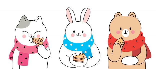 Cartoon carino autunno, gatto e coniglio e orso che mangia il vettore di torta.