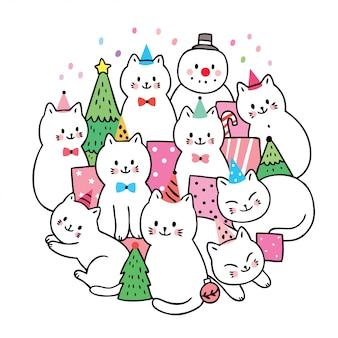 Cartoon carino natale, gatti e regali e albero di natale vettoriali.