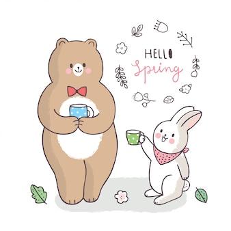 Cartoon carino primavera, orso e coniglio parlando e bevendo caffè
