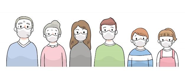 Cartoon carino proteggere virus, persone che indossano la maschera.