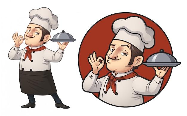 Cartoon chef logo illustration