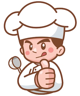 Cartoon chef mostra ok