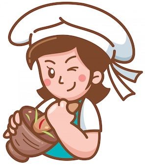 Cartoon chef presentando cibo