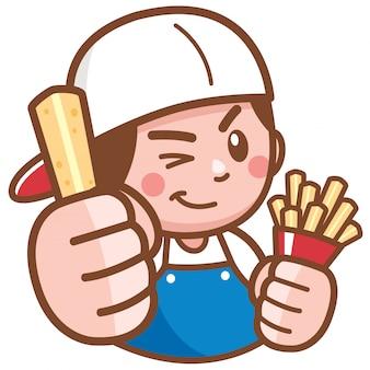 Cartoon chef presentando patatine fritte