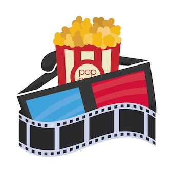 Cartoon cinema 3d occhiali pop corn film strip