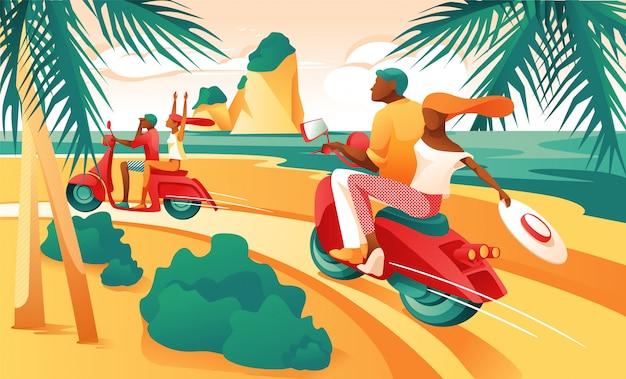 Cartoon couple ride motorcycle su ocean shore