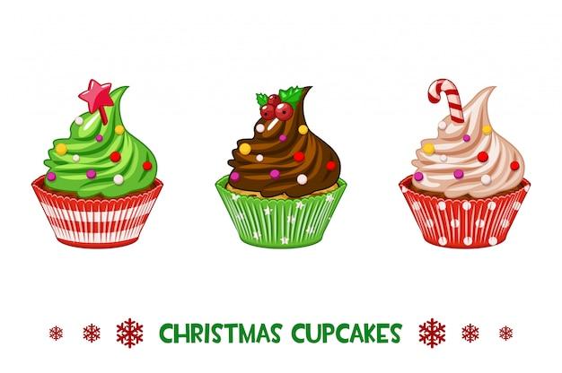 Cartoon cupcakes buon natale