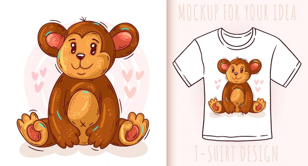 Cartoon cute baby monkey t-shirt design