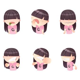 Cartoon cute girl set