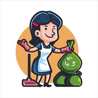 Cartoon eco maid