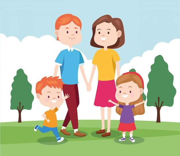 Cartoon famiglia felice con i loro bambini