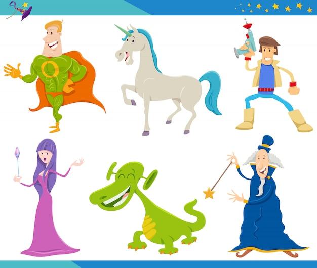 Cartoon fantasy monster e personaggi alieni impostati