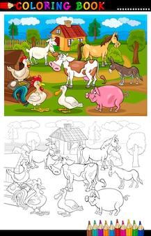 Cartoon farm and livestock animals per la colorazione