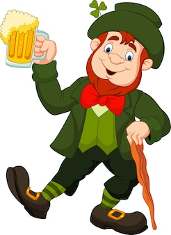 Cartoon felice leprechaun tenendo la birra