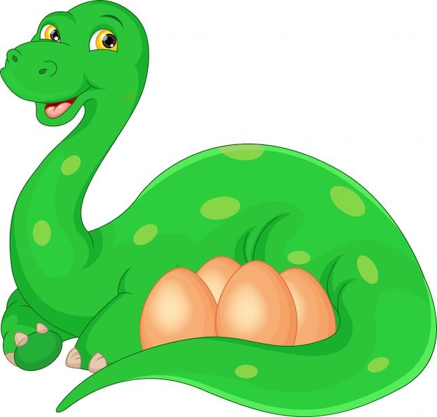 Cartoon felice madre e uova di dinosauro