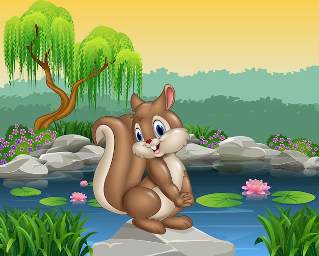 Cartoon felice scoiattolo in posa