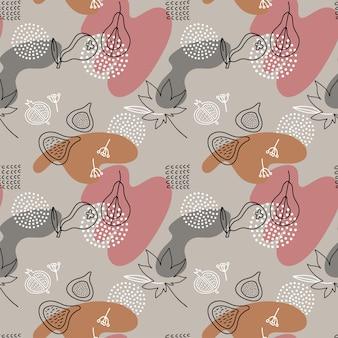 Cartoon fig, paear, puntini seamless pattern in stile art line con macchie di colore. forme disegnate a mano liquide astratte.