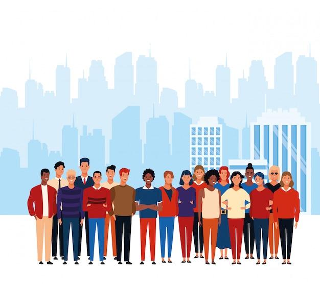 Cartoon folla di persone in piedi