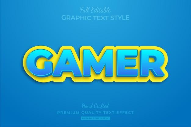 Cartoon gamer modificabile stile di testo personalizzato effetto premium