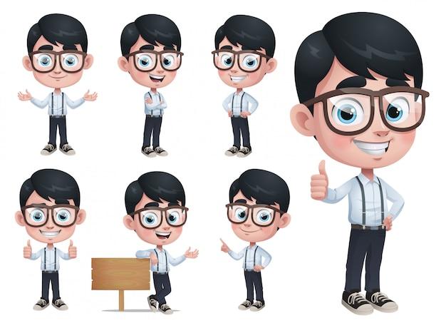 Cartoon geek boy mascot