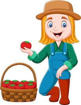 Cartoon girl harvesting tomatoes