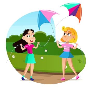 Cartoon girls launch colorful flying kyte in field